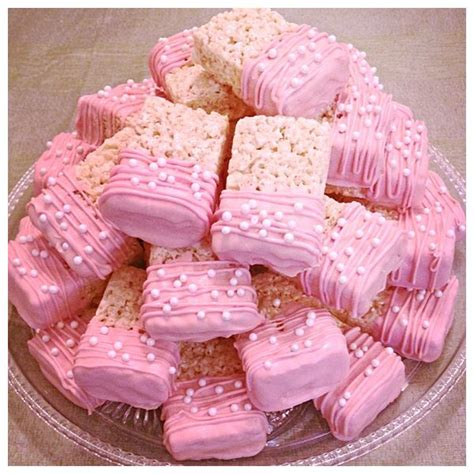 rice krispie treats pink baby shower