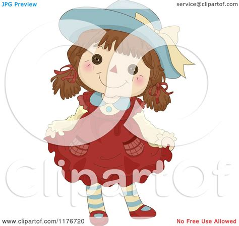 cartoon of a happy female rag doll doing a curtsy