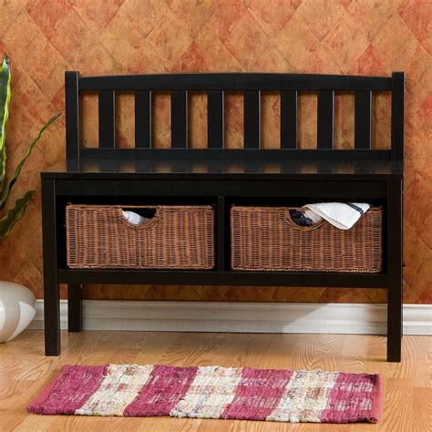 entryway benches with baskets beachcrest home offerman wood storage entryway bench with