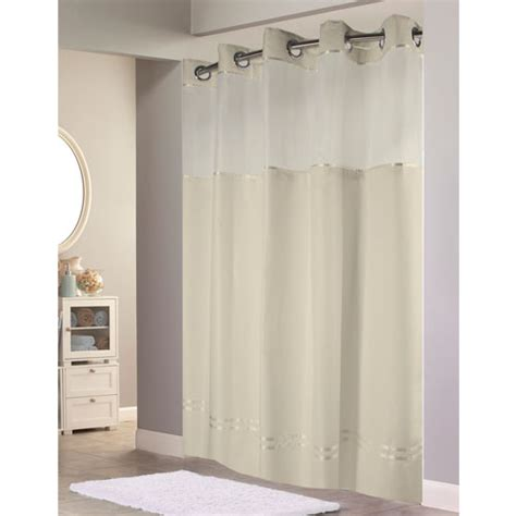hookless shower curtains with snap on liner hookless 174 escape polyester shower curtain w it s a snap