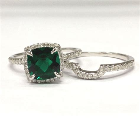 Emerald Engagement Rings by 758 Cushion Emerald Engagement Ring Sets Pave