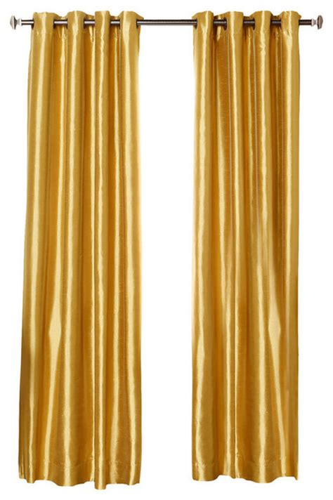 Gold Grommet Curtains Dupioni Faux Silk Grommet Top Blackout Curtain Gold 95 Quot Contemporary Curtains By Best