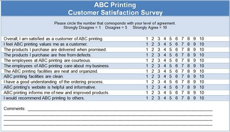 customer satisfaction questionnaire template the
