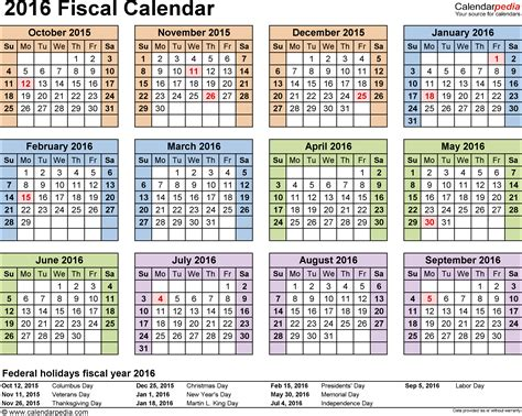 Calendã S Fiscal Calendars 2016 As Free Printable Pdf Templates