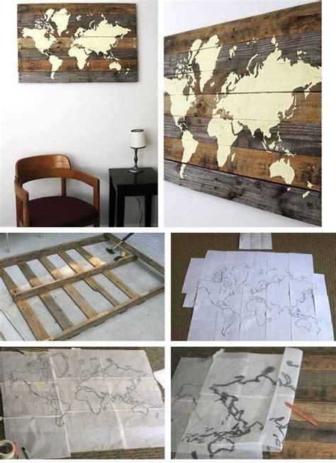 diy livingroom decor carte du monde dyi sur bois pour d 233 coration murale