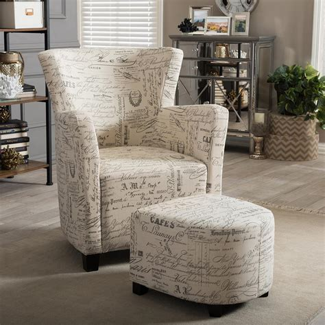 upholstered chair and ottoman sets baxton studio benson contemporary beige fabric upholstered