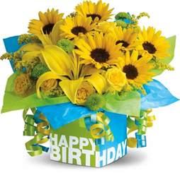 Boxed Roses Teleflora S Sunny Birthday Present Bouquet Sunny Sunflowers Pinterest Birthdays Happy