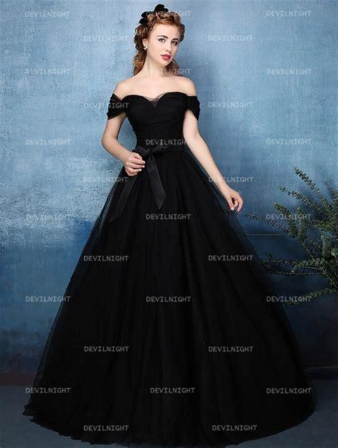 black wedding dress shop black off the shoulder princess style gothic wedding dress