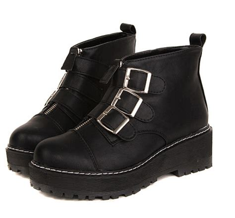 cool winter boots black leather boots buckle decorate platform chunky heel