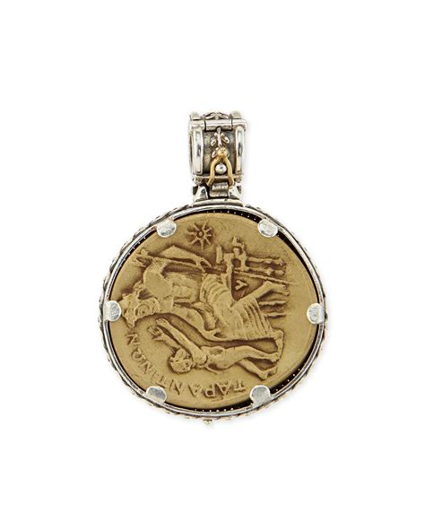 konstantino silver and bronze demeter coin pendant in