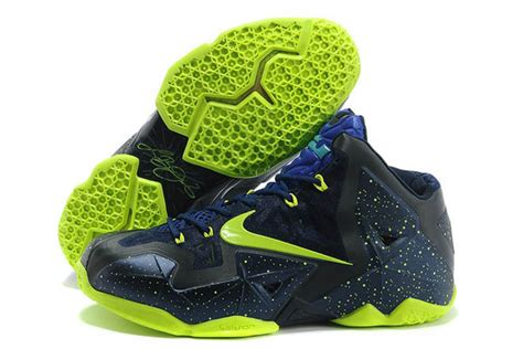 neon blue basketball shoes cheap sale nike lebron 11 xi navy blue and neon green