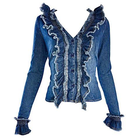 10 Jackets I by Fabulous 1990s Moschino Vintage Blue Jean Denim 90s Ruffle