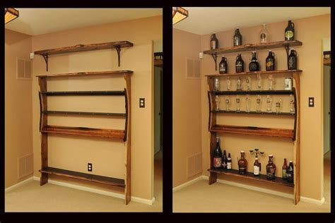 made custom shelf unit for bar memorabilia by