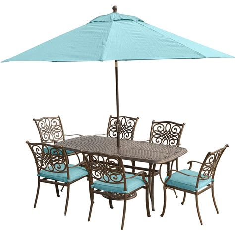 Blue Patio Table by Cambridge 7 Steel Outdoor Dining Set With