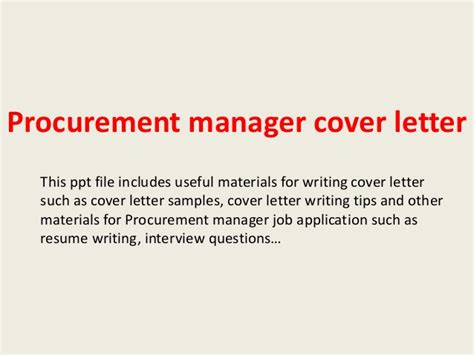 Procurement Manager Cover Letter Procurement Manager Cover Letter
