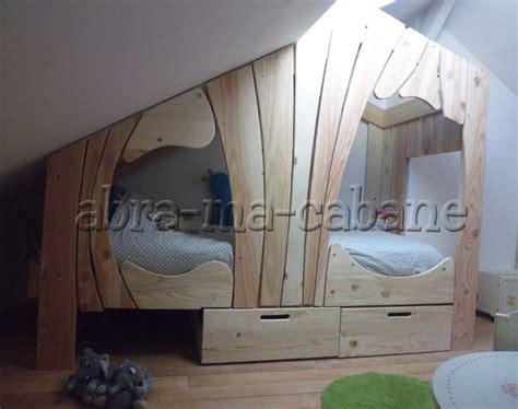Duplex Design by Lit Cabane Bois Massif Enfant Sequoia Abra Ma Cabane