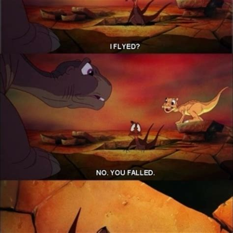Land Before Time Meme - duckie corrects petrie after falling from the sky in the