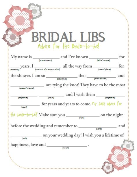 wedding mad libs template free something borrowed bridal shower bridal libs free
