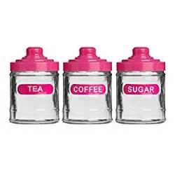 Pink Kitchen Canisters by Set Of 3 Pink Colour Glass 760ml Tea Coffee Sugar