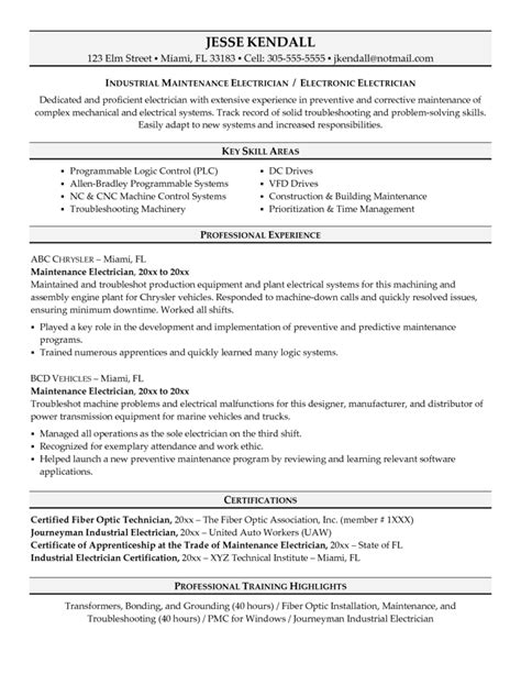 electrical resume exles free electrician resume recentresumes