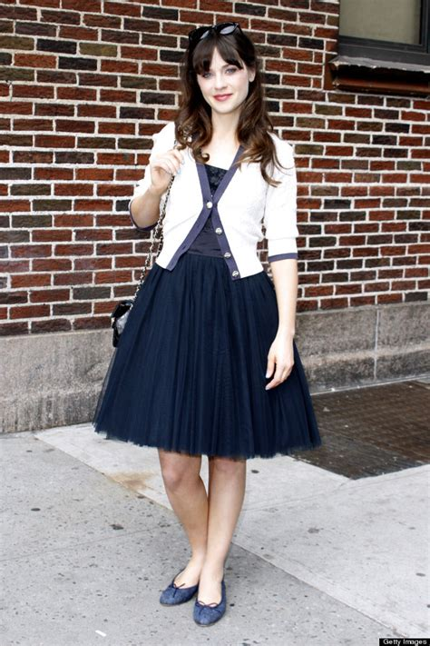 Style Zooey Deschanel by Zooey Deschanel Is Pretty In Prom Dress And Ballet Flats