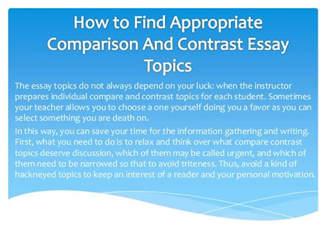 Comparison And Contrast Essay Ideas by Topics For A Compare And Contrast Essay Buy College Essays