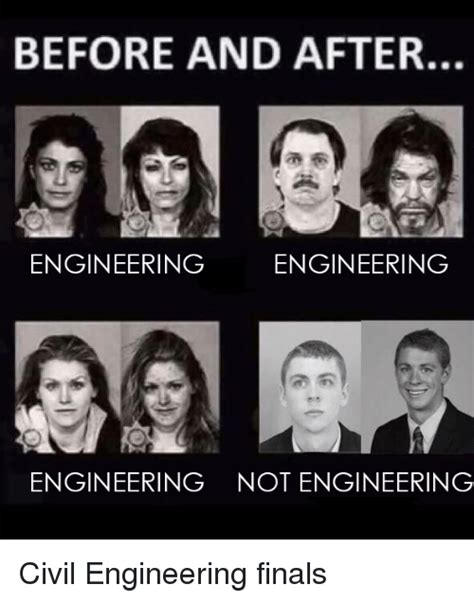 Civil Engineer Meme - before and after engineering engineering engineering not