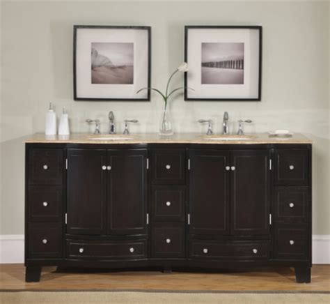 dark brown double sink vanity  travertine