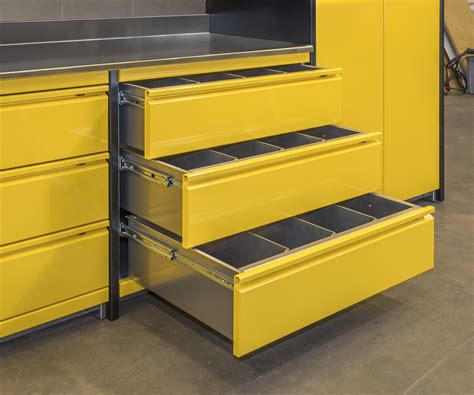 Yellow Aluminum Custom Garage Cabinets   DSW Manufacturing
