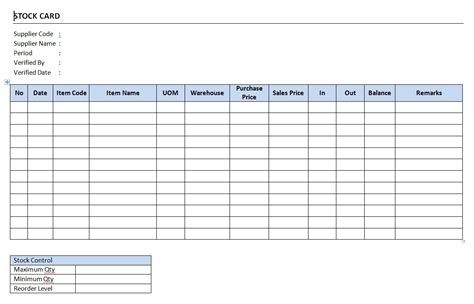 Inventory Bin Card Excel Template by Stock Card Form