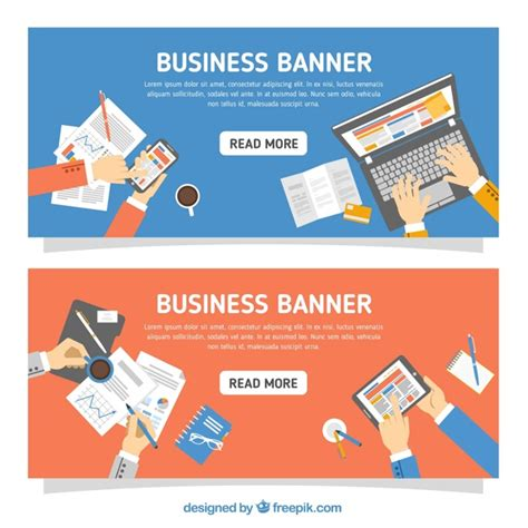 banners flat design elements vector 18 banners with business elements in flat design vector