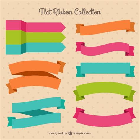 pack of pretty colored ribbons in flat design vector