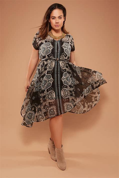 Hem Bordier To54 black multi nostalgia border print hanky hem chiffon dress plus size 14 to 32