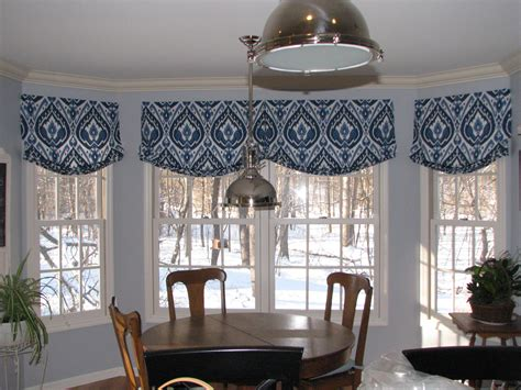 Bay Window Toppers Relaxed Shade Valance In Ultra Marine Ikat Pattern