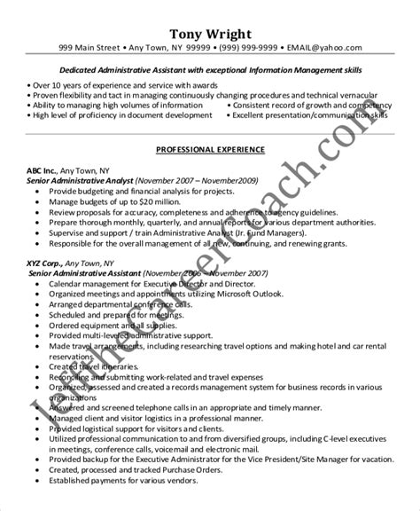 senior administrative assistant resume 10 free word