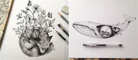 Food Drawing Pen Pencil Makanan Harga poetic surreal black ink pen illustrations fubiz media