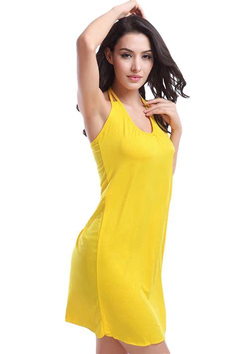 Dress Import Leemin Yellow yellow halter plain summer chic dress pink