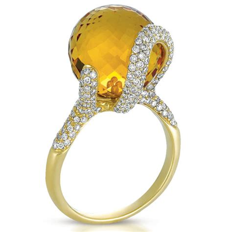 citrine and pave ring vanna k 1085