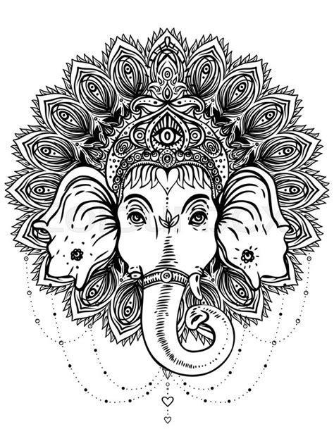 hindu mandala coloring pages hindu lord ganesha over ornate mandala pattern vector
