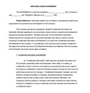 Standard Non Disclosure Agreement Template 20 Word Non Disclosure Agreement Templates Free Download