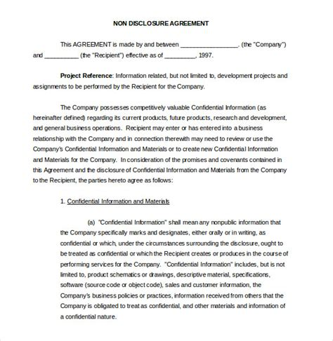 20 Word Non Disclosure Agreement Templates Free Download Free Premium Templates Free Standard Non Disclosure Agreement Template