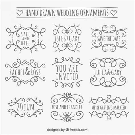 Wedding Font Ornament by Wedding Ornament Collection Vector Free