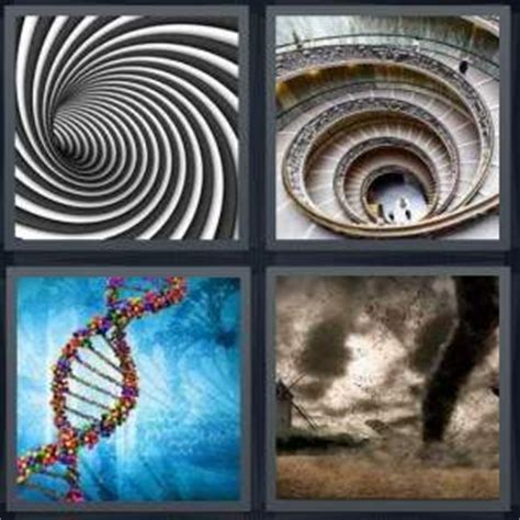 4pics1word 6 letters 4 pics 1 word answer for swirl staircase dna tornado 1051