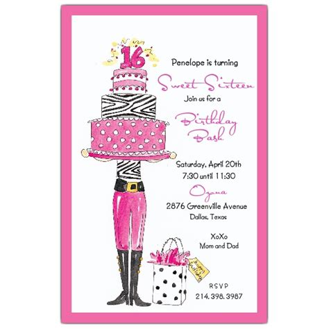 16 year birthday card template sweet 16 birthday invitations paperstyle