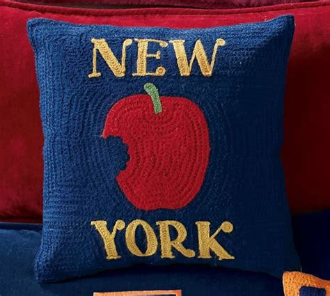 New York Embroidered Pillow by New York City Crewel Embroidered Pillow Pottery Barn