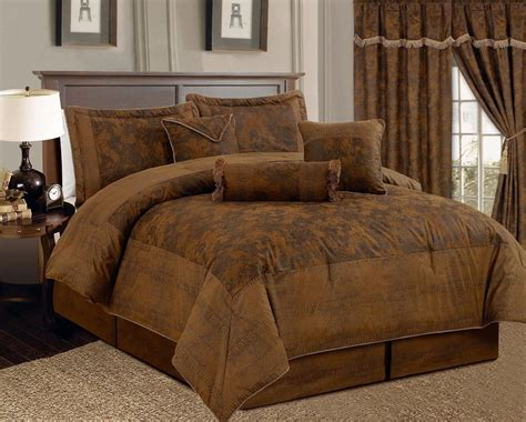 new 7 pc full brown bronze suede comforter set bed in a