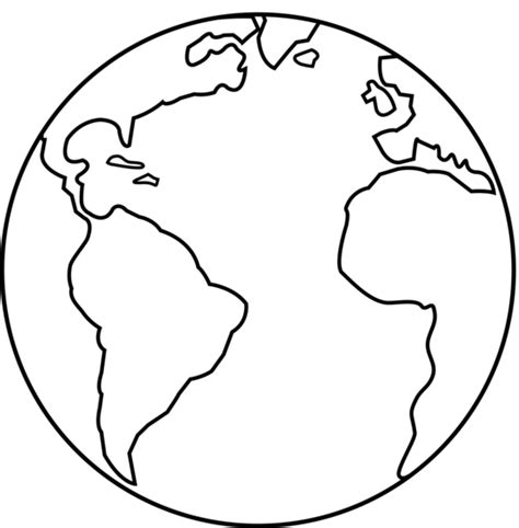 earth template colorable earth line free clip
