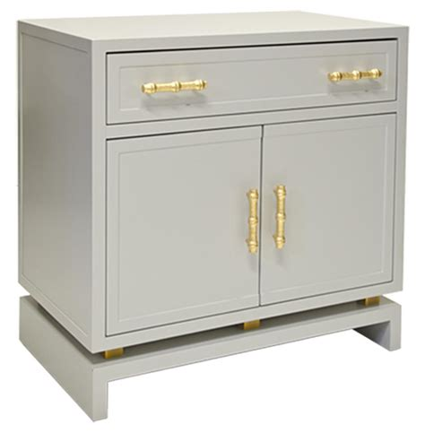 Nightstand Cabinet Tracey Regency Grey Lacquer Nightstand Cabinet