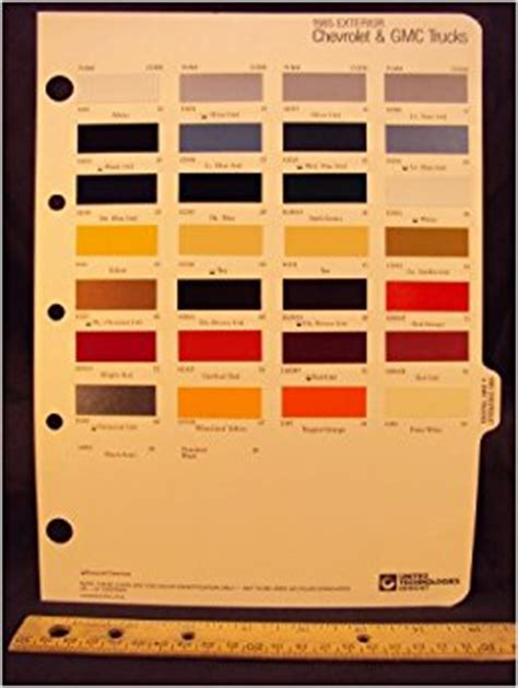 1985 chevrolet gmc truck paint colors chip page general motor corporation books