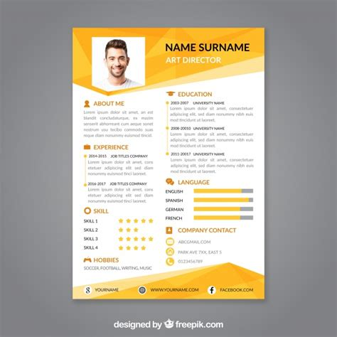 Curriculum Template Free by Professional Curriculum Vitae Template Vector Free